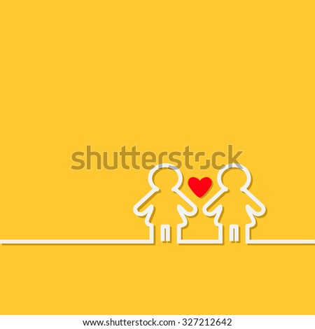 Gay marriage Pride symbol Two white contour women sign with red heart LGBT icon Yellow background Flat design Vector illustration - stock vector