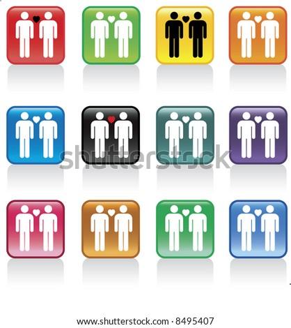 gay men love button pack - stock vector