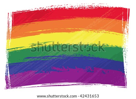 Gay pride flag created in grunge style - stock vector