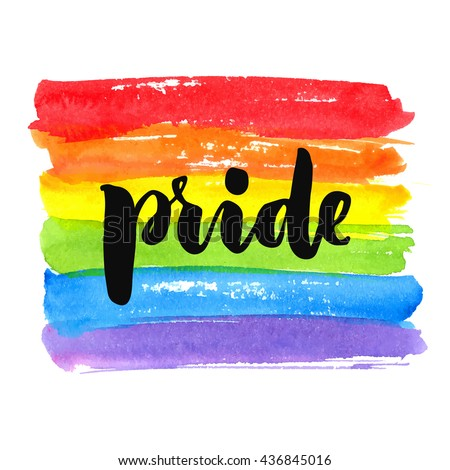 Gay pride. Text on rainbow texture. Vector watercolor spectrum. Hand drawn paint strokes isolated on white background - stock vector
