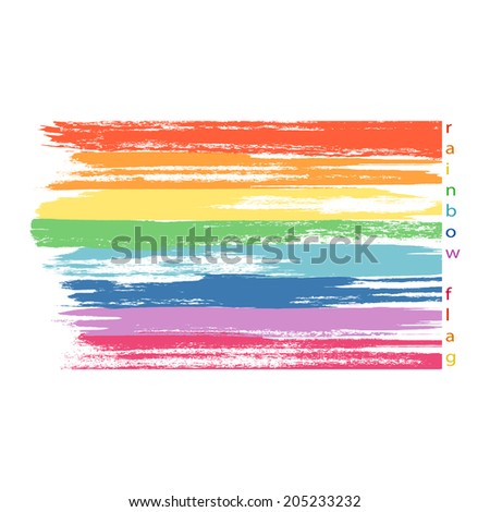 Gay rainbow colors flag. Textured, made with watercolor paint. Vector. - stock vector