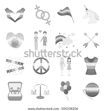 Gay set icons in monochrome style. Big collection of gay vector symbol stock illustration