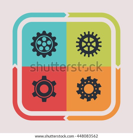Gear and machine icons. Technology pictogram. Options vector graphic. Mechanical design collection. - stock vector