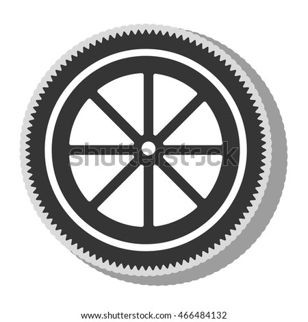 Gear bike wheel, isolated flat icon design.