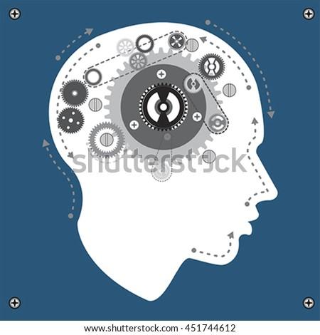 Gear brain mechanism, vector - stock vector