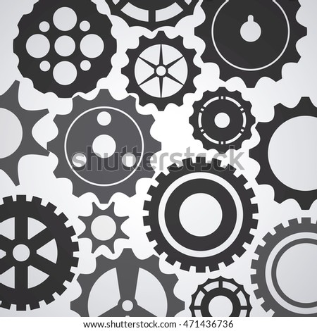 gear cog circle machine part metal icon set. Isolated and silhouette design. Vector illustration