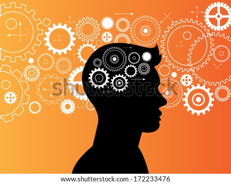 Gear collection and vector brain engine  background  - stock vector