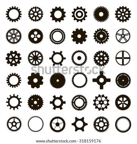 Gear collection black machine gear on a white background: wheel cogwheel vector, set of gear wheels, collection of vector gear - stock vector