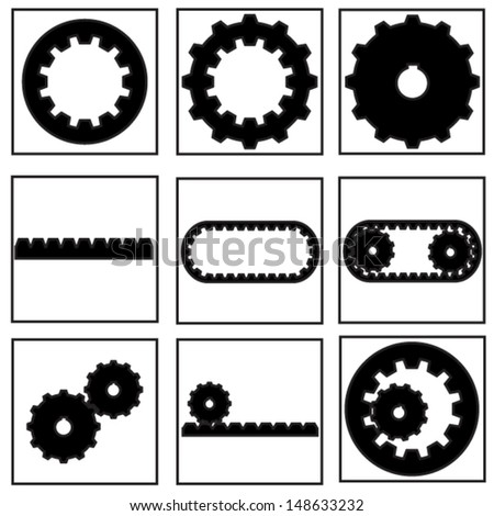 gear collection icon - stock vector