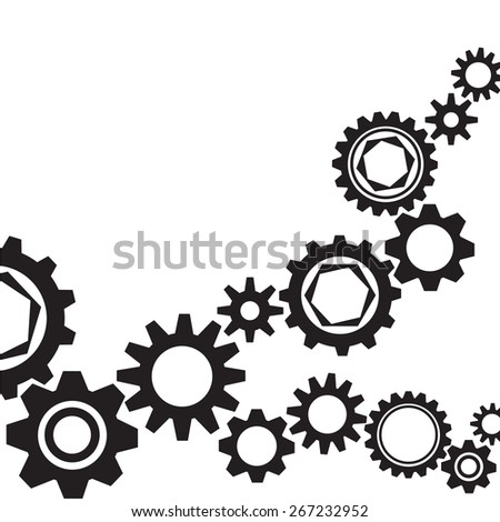 Gear collection. Set of vector gear wheels. Black cogs on white background. Vector illustration - stock vector