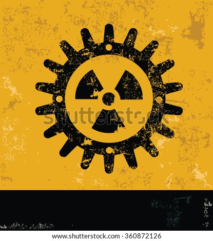 Gear design on yellow background,grunge vector