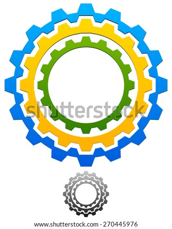 Gear-Gearwheel Icon, Emblem with Tricolor and Gray scale versions included - stock vector