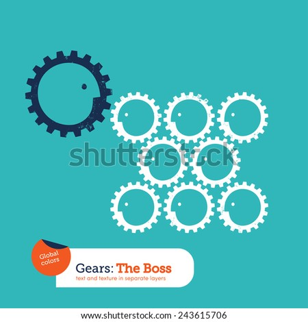 Gear head boss and team. Vector illustration Eps10 file. Global colors. Text and Texture in separate layers. - stock vector