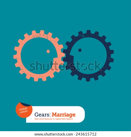 Gear head business relationships. Vector illustration Eps10 file. Global colors. Text and Texture in separate layers. - stock vector