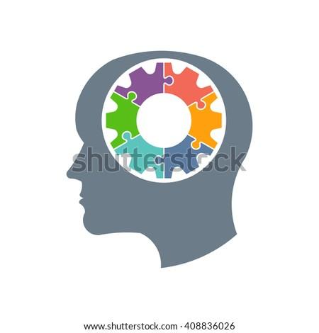 Gear head person logo. Vector graphic design illustration - stock vector