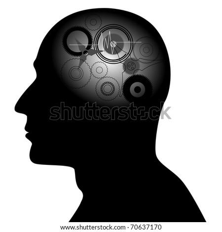 Gear head - vector, symbol - stock vector