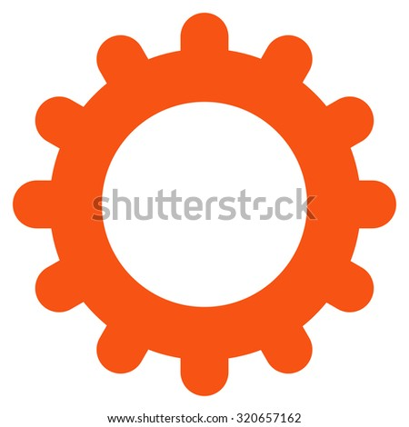Gear icon from Primitive Set. This isolated flat symbol is drawn with orange color on a white background, angles are rounded. - stock vector
