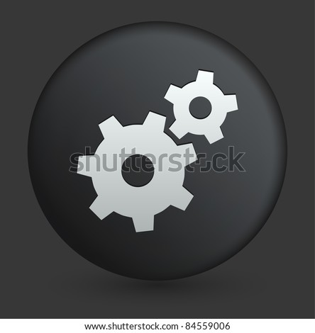 Gear Icon on Round Black Button Collection Original Illustration - stock vector