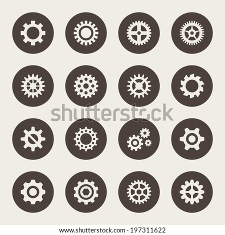Gear icon set - stock vector