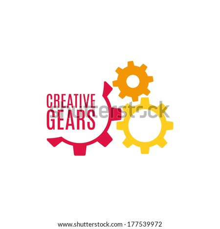 Gear icon with place for your text. Vector illustration - stock vector