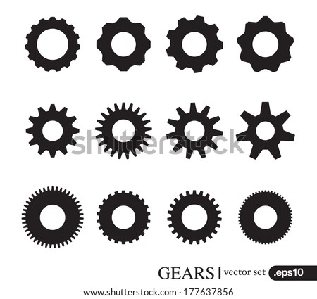 Gear icons design elements. Gears Silhouette. Gear Concept. vector set - stock vector