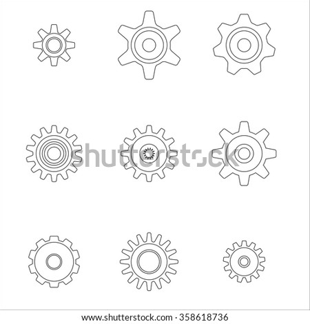 Gear icons set. Vector Illustration. - stock vector