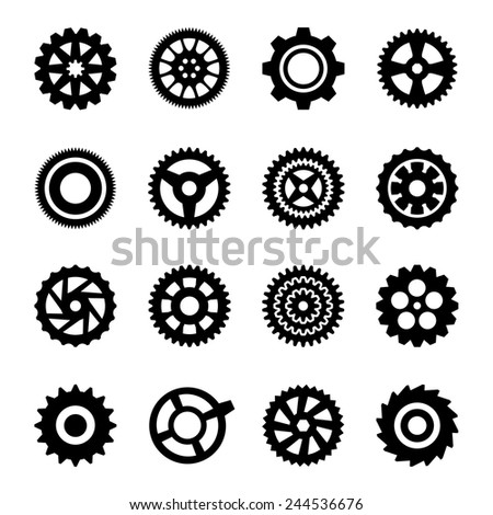 Gear icons Vector files contains editable sixteen gear icons.