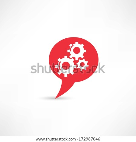 Gear into the speech bubble - stock vector