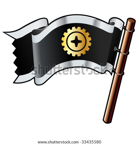Gear, machine, or technology icon on black, silver, and gold vector flag good for use on websites, in print, or on promotional materials - stock vector