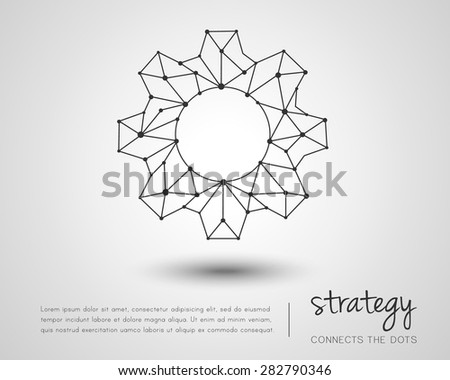 Gear made of lines and dots as strategy concept - stock vector