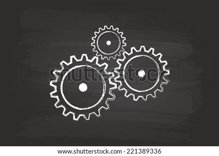 Gear Mechanism On Blackboard - stock vector