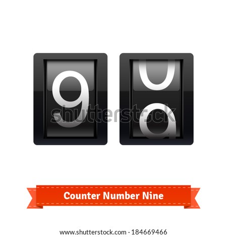 Gear number counter template for number nine. Highly editable EPS10 interface elements. - stock vector