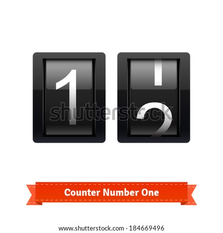 Gear number counter template for number one. Highly editable EPS10 interface elements. - stock vector