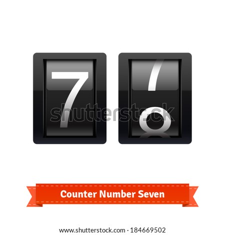 Gear number counter template for number seven. Highly editable EPS10 interface elements. - stock vector