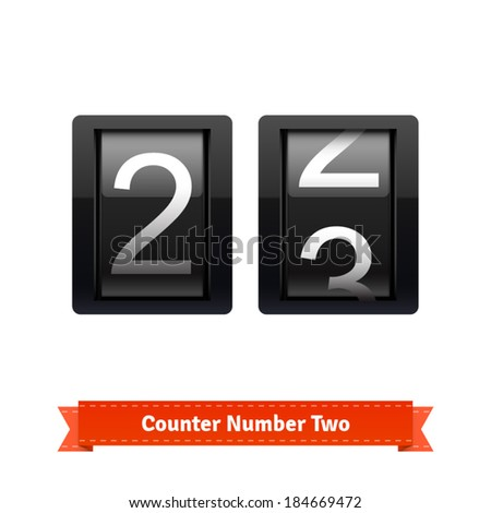 Gear number counter template for number two. Highly editable EPS10 interface elements. - stock vector
