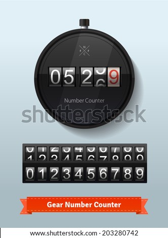 Gear number counter template with all digits. Stopwatch concept with imaginative NC (NumCount) logo. Highly editable EPS10 vector interface elements. - stock vector