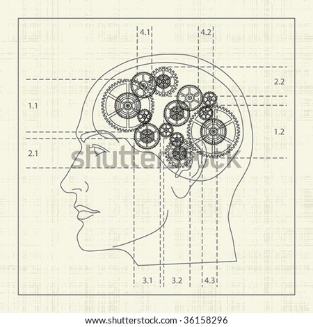 Gear of the human mind, detailed draft - stock vector