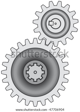 Gear pair on white background - blend only - stock vector