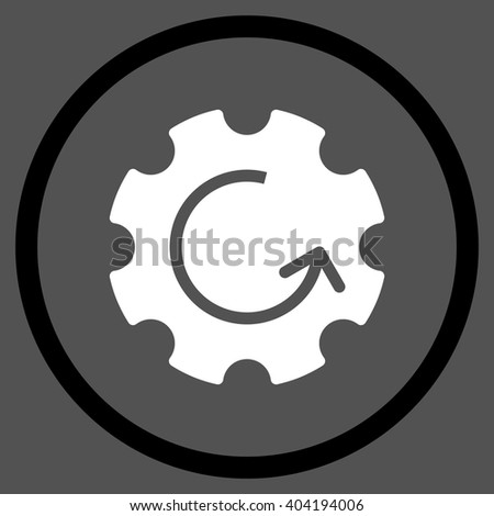 Gear Rotation vector bicolor icon. Picture style is flat gear rotation rounded icon drawn with black and white colors on a gray background. - stock vector