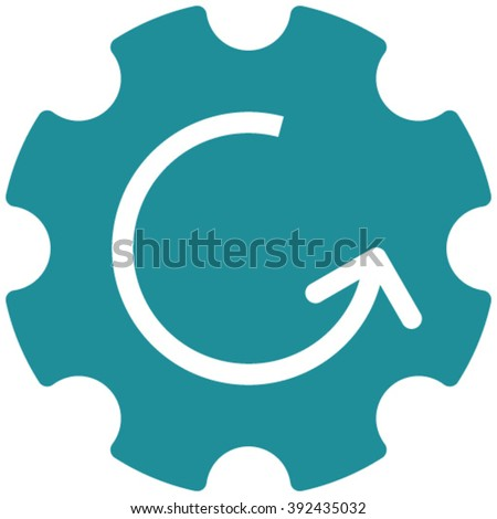 Gear Rotation vector icon. Image style is flat gear rotation pictogram drawn with soft blue color on a white background. - stock vector