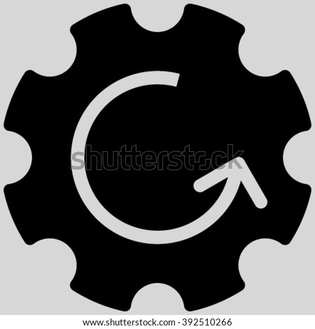 Gear Rotation vector icon. Image style is flat gear rotation pictogram symbol drawn with black color on a light gray background. - stock vector