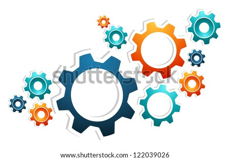 Gear set working innovation concept background. Vector illustration layered for easy manipulation and custom coloring.
