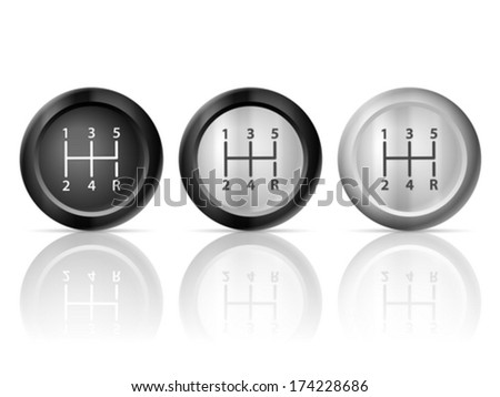 Gear shift set on a white background. - stock vector