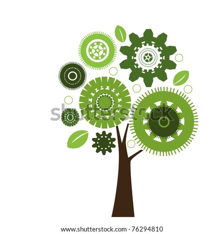 Gear Tree - working for the environment concept - stock vector