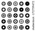 Gear wheel icons set 1 - stock vector