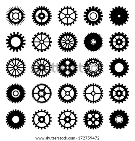 Gear wheel icons set 1 - stock vector