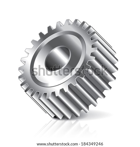 Gear wheel isolated on white photo-realistic vector illustration - stock vector