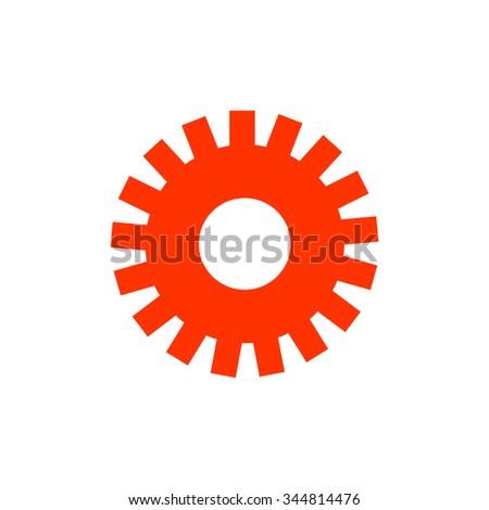 gear wheel on white background, orange light box       - stock vector