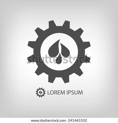 Gear wheel with water drops as logo. Plumbing or engineering sign - stock vector