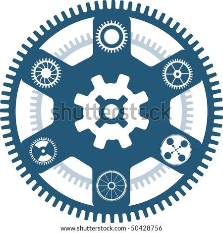 gear wheels asterix background - stock vector